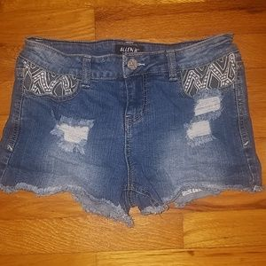 Distressed Mini Shorts with Geonetric Detailing